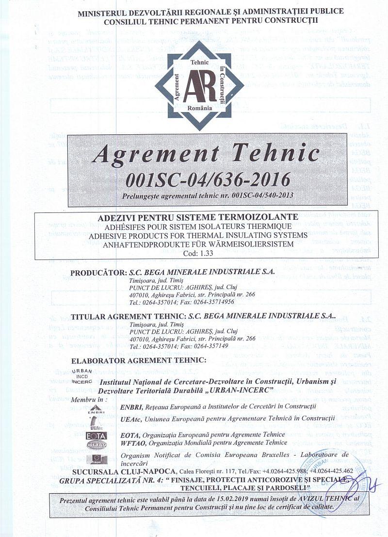 Adezivi pentru Sisteme Termoizolante - Aviz Agrement Tehnic